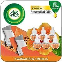 Air Wick Plug in Scented Oil Starter Kit, 2 Warmers + 6 Refills, Hawaii, Essential Oils,