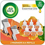 Air Wick Plug in Scented Oil Starter Kit, 2 Warmers + 6 Refills, Hawaii, Essential Oils, Hawaii, 8 Count