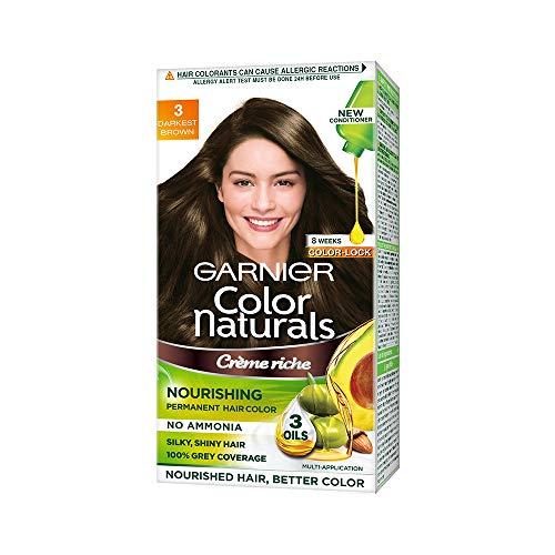 Garnier Color Naturals Crème hair color, Shade 3 Darkest Brown, 70ml + 60g
