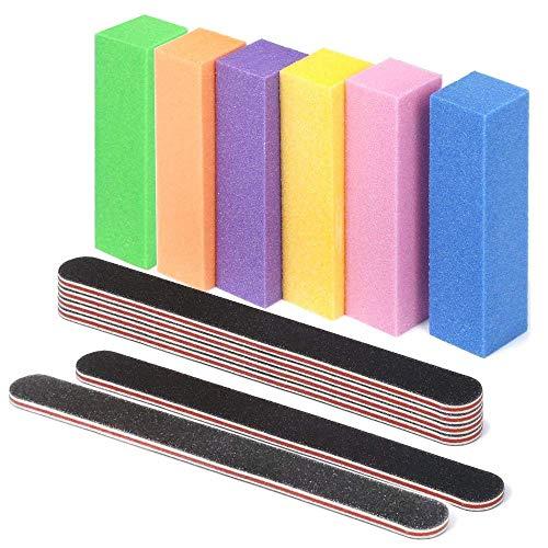 Lime e tamponi per unghie, lime per unghie grana 100/180 lavabili Pannelli per smerigliatura bilaterali lavabili 6 pz e tampone per levigatura per lime Strumenti 6 pz