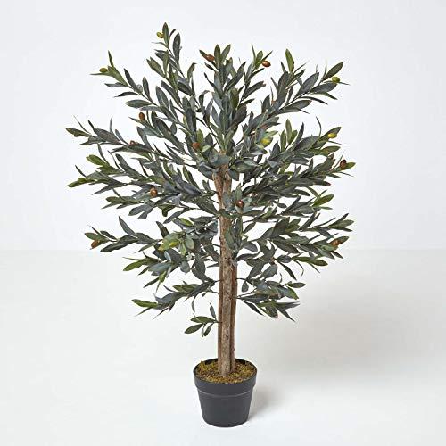 Homescapes Olivier artificiel vert à feuillage dense et nombreuses olives en pot 90 cm