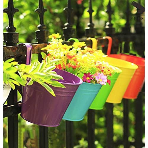 Collectible India Metal Yellow Railing Planter Flower Pot Wall Fence Hanging Balcony Garden Planters - 1 Pcs Yellow