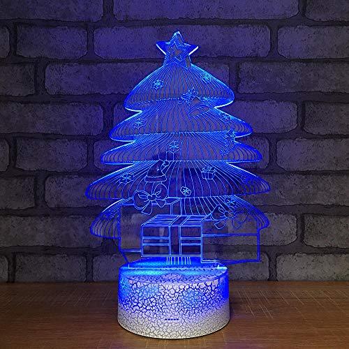 árbol de Navidad Ilusión 3D Luz Nocturna,lámpara de escritorio USB con interruptor de gradiente de 7 colores multicolo como decoración del hogar de para niños[Clase de eficiencia energética A]