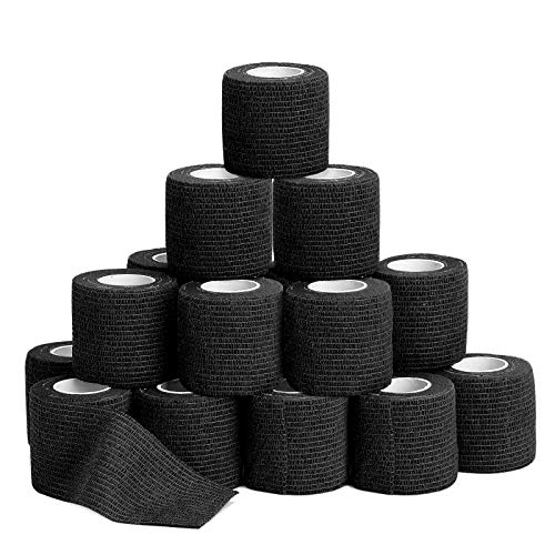 """24pcs Self Adherent Cohesive Wrap Bandages - 2""""Wide, 5 Yards - All Sports Athletic Tape, Black Elastic Self Adhesive Tape 