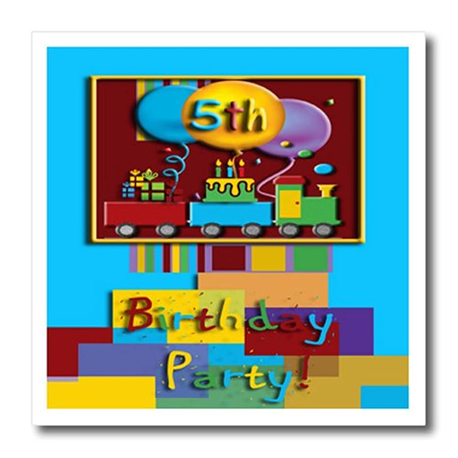 3dRose ht_20889_2 5th Choo Choo Train Birthday Party Iron on Heat Transfer for White Material, 6 by 6-Inch