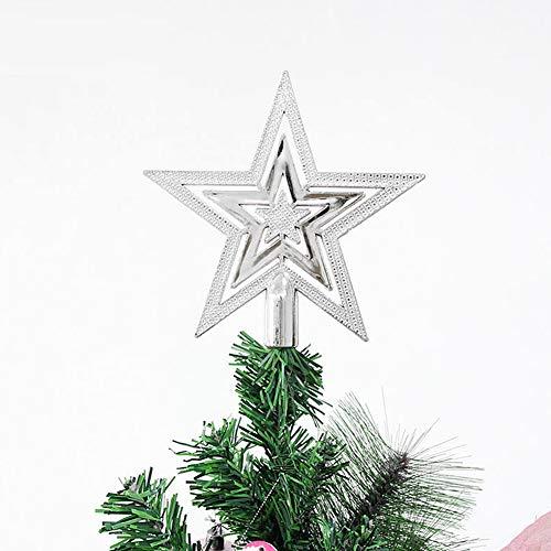 Toruiwa Weihnachtsbaum Stern Weihnachtsbaumspitze Baumspitze Baumschmuck Baum Stern Topper Weihnachten Deko (Silber)