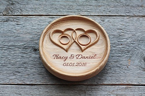 Ringschale aus Holz mit gravierten Namen und Datum, Ringkissen für die Hochzeit, Ringträger für die Hochzeit