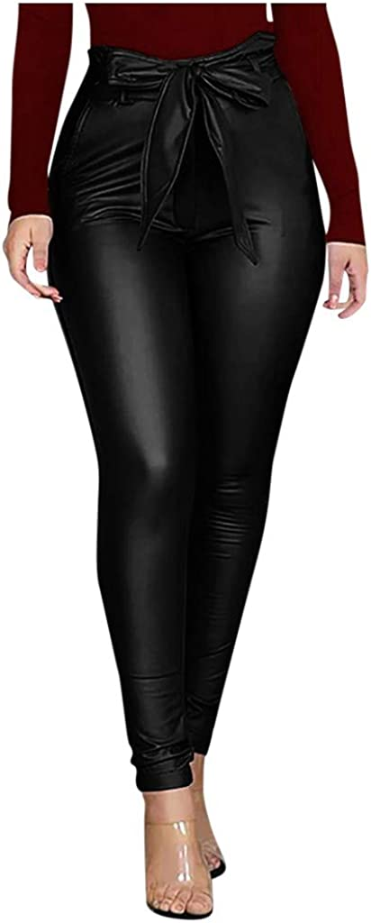 FIRERO Women Fashion Trousers Bright Leather Tight-Fitting Slim Casual Leather Pants
