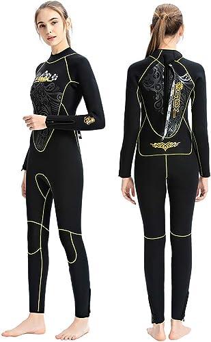 ZUKN Combinaisons pour Femmes 5MM Néoprène épaissir Doubleure Polaire Thermique élastique Siamois Diving Suit Maillot de Bain à Manches Longues pour Scuba Triathlon Surf Snorkeling