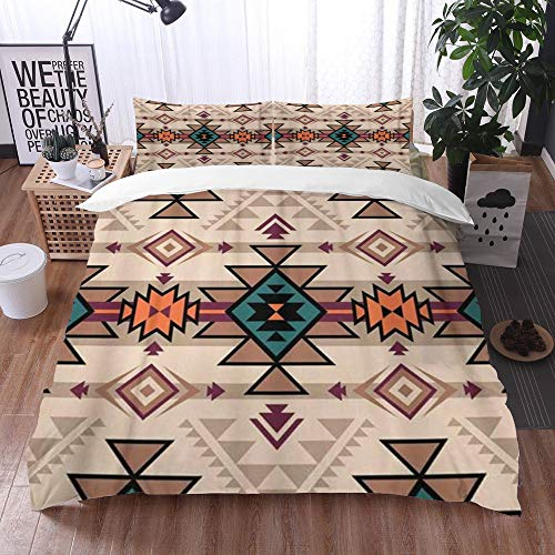 Yuxiang Bedding Sets Duvet Cover Set, Retro Color Tribal Navajo Aztec Fancy Abstract Geometric Ethnic,3-Piece Comforter Cover Set 135 x 200 cm +2 Pillowcases 50 * 80cm