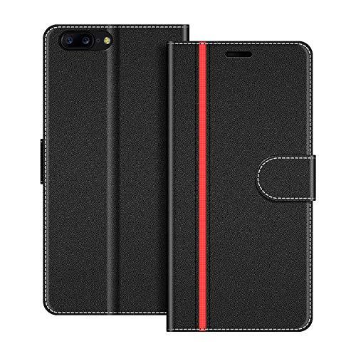 COODIO Handyhülle für OnePlus 5 Handy Hülle, OnePlus 5 Hülle Leder Handytasche für OnePlus 5 Klapphülle Tasche, Schwarz/Rot