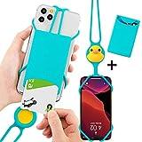 Bone キャラクター スマホ 携帯 ネックストラップ カードケース付きで着脱可能 4-6.5インチのスマホに対応 全シリコン製 安全装置付き 落下防止 長さ調節可能 定期入れ (ラバーダック) Lanyard PhoneTie 2 Card Holder