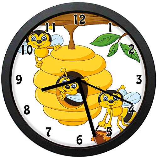 YiiHaanBuy Branch of Tree with Beehive and Bees Honey Funny Insect Hardworking Mascot-Silent Quartz Movement,Round Decorative Wall Clock,The Best gift-10inch