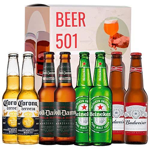 Pack de cervezas degustación BEER 501 - Caja INTERNACIONAL: Corona, Voll-Damm, Heineken y Budweiser. I La mejor selección de cervezas para regalar y disfrutar.