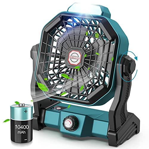 CONBOLA Portable Battery Operated Fan with LED Lantern, 10400mAh Outdoor Small Rechargeable Quiet Camping Fan, Personal Desk Fan Cooling Table Fan...