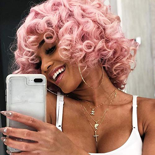 Short Curly Wigs With Bangs Pink Afro Curly Synthetic Short Wigs for Black Women Phoenixfly Short Pink Afro Curly Wigs For Women Short Wigs Heat Resistant Hair Replacement Wigs with Free Wig Caps