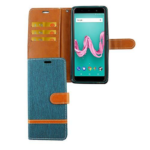 König Design Handy-Hülle Kompatibel mit Wiko Lenny 5 Schutz-Tasche Hülle Cover Kartenfach Etui Wallet Grün