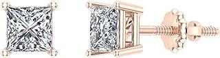 Orecchini a bottone con diamanti a taglio princess, oro 14 carati (G, I1)