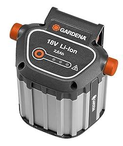Gardena System Akku BLi-18: Zubehör für viele Gardena Trimmer, Bläser und Heckenscheren, 18 V Akkuleistung mit 2.6 Ah Kapazität, Ladezeit ca. 4 h, LED Ladezustandsanzeige, Aluminumgehäuse (9839-20)