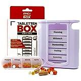 iFancy Pillendose für 7 Tage / 1 Woche - 28 Fächer Medikamentendosierer Pillenbox Tablettendose Tablettenbox Weiss -