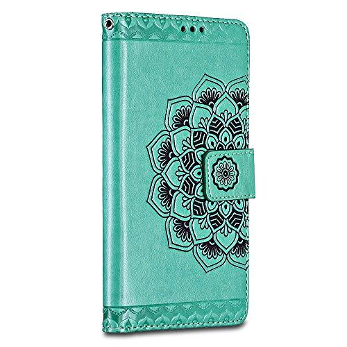 Bravoday Handyhülle für Sony Xperia L2 Hülle, Premium Leder Flip Schutzhülle [Kartenfach] [Magnetverschluss] für Sony Xperia L2 Tasche, Grün