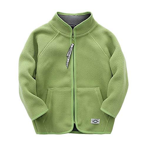 Lishui Kinder Junge Mädchen Softshell Jacke Reißverschluss Fleecejacke Casual Leichtgewicht Mantel Grün1 7-8/140 - Höhengeeignet:128CM