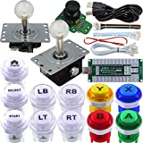 SJ@JX Arcade Game Controller 3D Gamepad Analog Stick Sensor Fly Joystick Microswitch MX LED Button USB Encoder Light Cable for PC PS3 Nintendo Switch Xbox 360 Android Raspberry Pi