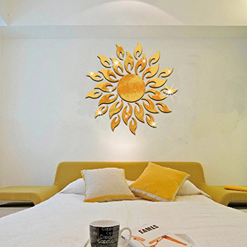 Fugift Home Decoration Stickers DIY 3D Sparkly Sun Mirror Wall Steamer Acrylic Mural Decal Home Decor Removable