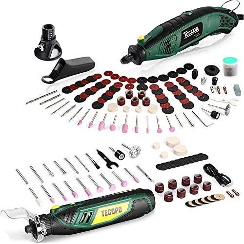 Cordless Rotary Tool, 4V Rotary Tool Kit, 5-Variable Speed, Electric Rotary Tool Set + TECCPO Rotary Tool Kit 1.5 amp, 6 Variable Speed with Flex Shaft, Universal Keyless Chuck