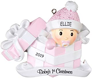 DIBSIES Personalization Station Personalized Baby in Present First Christmas Ornament (Pink)