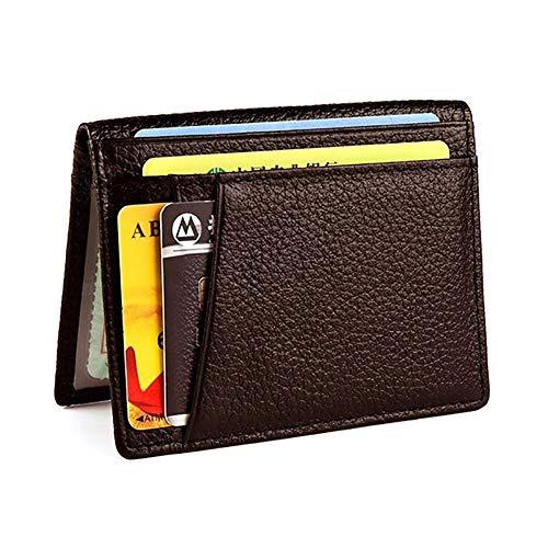 Knowooh Creditcardhouder, kaarthouder, visitekaartje, portemonnee, heren en dames, leer, portemonnee, creditcards, etuis, slim, portefeuille, creditcardhouder met identiteitskaartvenster koffie