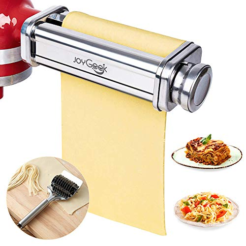 JoyGeek Pasta Roller Sheet Attachment for KitchenAid Stand Mixer, Stainless Steel Pasta Maker Accessories with Noodle Lattice Roller and Cleaning Brush for Ravioli, Lasagna