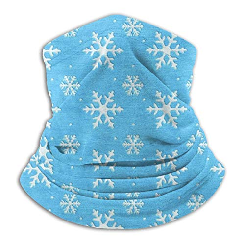 Women Men Boys Girls Soft Blue Frozen Snowflake Neck Gaiter Warmer Half Balaclava Slouchy Beanie Hat Windproof Face Mask for Winter Skiing Hiking Cycling