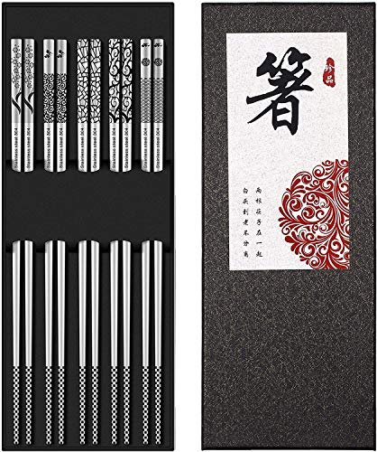 DYBOHF Baguettes Inoxydable 5 Paires, Chinoise Japonaises co