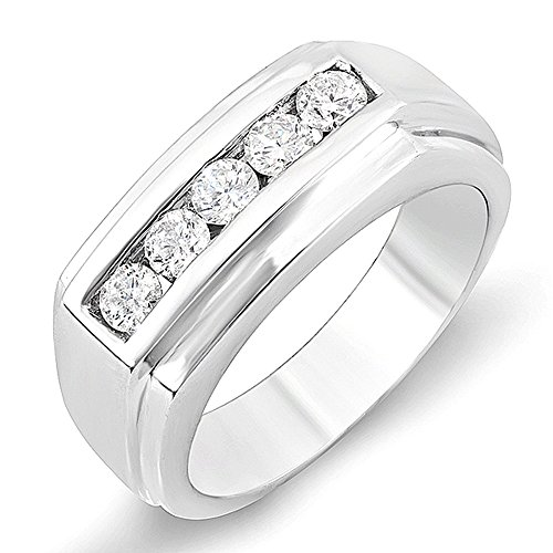 1,00Carat (quilate) 14K oro blanco redondo canal de diamante mens Anillo 1ct