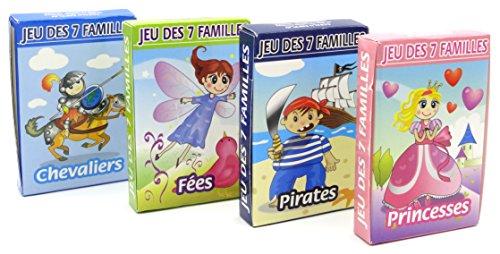 Jeu des 7 Familles - lot de 4 jeux : Princesses, Fées, Pirates, Chevaliers