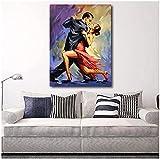 JIAJIFBH Cuadros de Pared Arte Pintura Tango Tentación Pareja Bailando Tango Arte Original Cuadros en Lienzo para la decoración de la Sala de Estar 70x90cm sin Marco