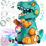 POLARDOR Dinosaur Bubble Machine for Toddlers Kids, Walking & Stand Automatic Bubble Maker Blower Toy with Light and Music, Leakage Free, 120ML Bubbles Solution Refill, Outdoor & Indoor Party Supplies