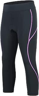 Womens Cycling Pants Padded Long Bike Bicycle Tights Capri Pants Wide Waistband with Pocket