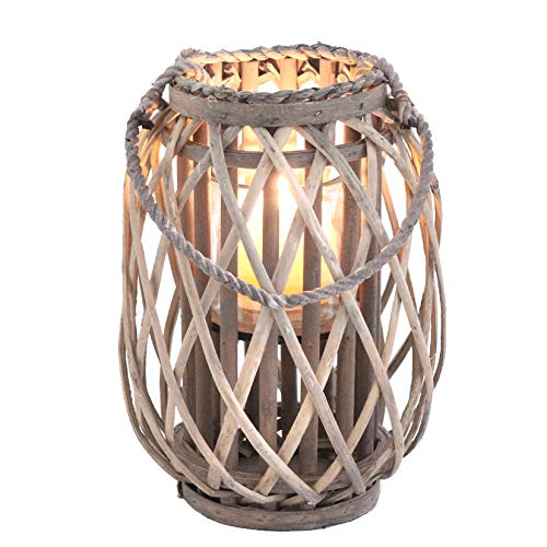 Homeshop Rattan Windlicht Laterne Grau Braun