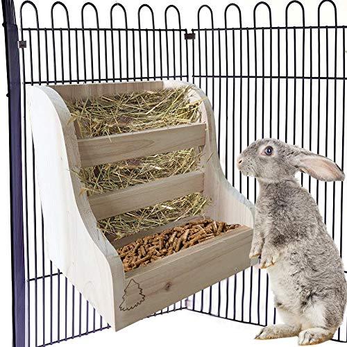 Jannyshop Gras und Futter Doppelnutzung Futterautomat Kaninchenheu Futterautomat Gras Futternapf 2-in-1 Futterautomat für Hase Meerschweinchen