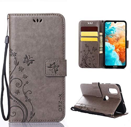 XINKO Hülle für Huawei Y6 2019, Retro Blumen Muster Design -[Ultra dünn][Kartenschlitz] Wallet Tasche Hülle Huawei Y6 2019 (Grau)