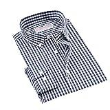 Camisa de manga larga con botones a cuadros para hombre, tela de fácil cuidado, sin arrugas, casual, a cuadros