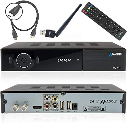 Anadol HD 444 HDTV Satelliten Sat-Receiver Digital-Receiver für Satellitenfernseher (DVB-S/S2, HDMI, 2x USB, Full-HD, YouTube) [ Astra Hotbird Türksat vorinstalliert ] + HDMI Kabel + WLAN