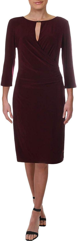 Lauren Ralph Lauren Womens Petites Keyhole FauxWrap Bodycon Dress