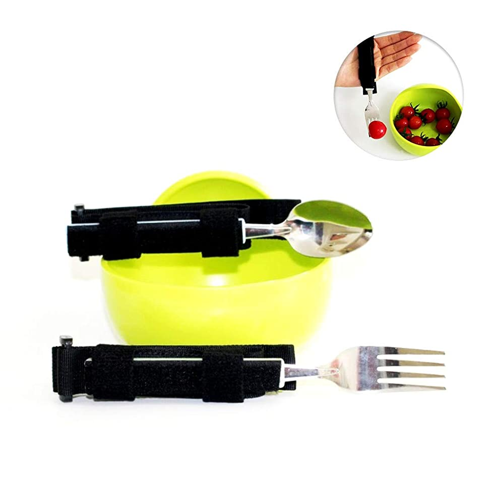 Adaptive Utensil Set Contains Spoon Fork and Self-Feeding Bowl Eating Aids for Weak Grip,Stroke, Arthritis,Elderly,Hands Disabled,Universal Cuff