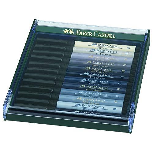 Faber-Castell 267423 - Tuschezeichner Pitt Artist Pen brush, 12-er Packung, Grautöne