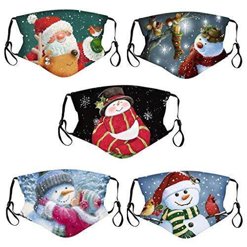 Lomelomme 5 Stück Mundschutz Waschbar mit Weihnachten Motiv Maske Bandana Lustige Multifunktionstuch Herren Damen Atmungsaktive Baumwolle Mund und Nasenschutz Staubdicht Motorrad Halstuch (J-3)