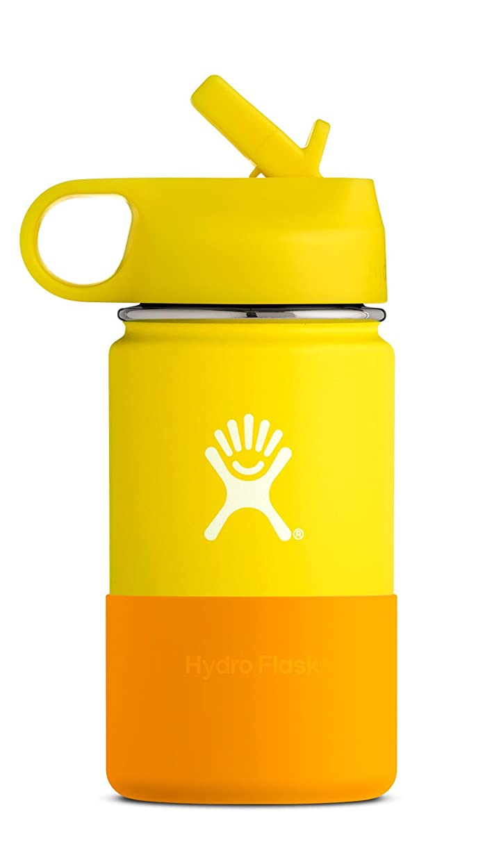 Hydro Flask 12 oz Kids Water Bottle | Stainless Steel & Vacuum Insulated | Wide Mouth with Straw Lid and Silicone Boot | Multiple Colors