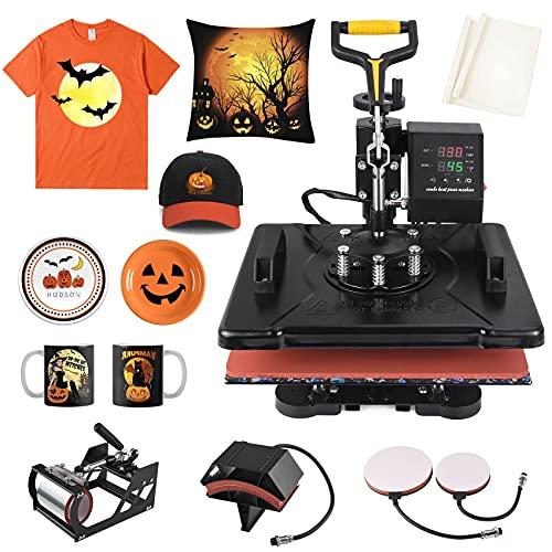 Seeutek Heat Press 5 in 1 Machine 12x15 Inch Swing Away Digital Transfer Sublimation Multifunction Combo for T Shirts Mugs Hat Plate Cap
